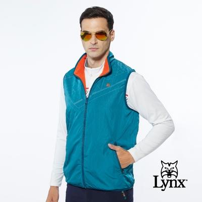 【Lynx Golf】男款保暖舒適幾何曲線菱形印花無袖雙面穿風衣布/刷毛背心-藍綠色