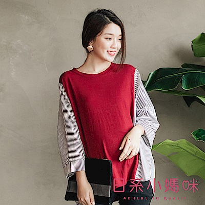 日系小媽咪孕婦裝-韓製孕婦裝~素面側拼接條紋設計感上衣 (共三色)