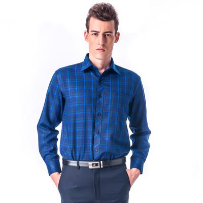 金‧安德森 藍底藍綠大格厚暖長袖襯衫