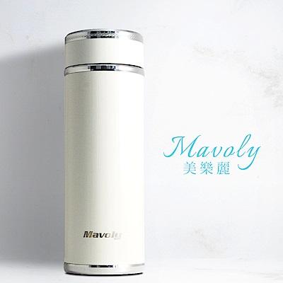 Mavoly 雙層304不鏽鋼陶瓷保溫杯350ML-珍珠白(附茶隔器)