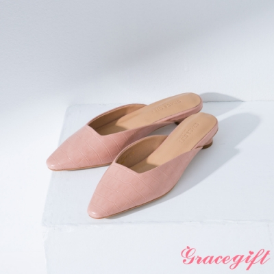 Grace gift-素面方口圓跟穆勒鞋 粉