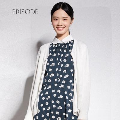 EPISODE - 百搭素色編織設計拉鍊外套