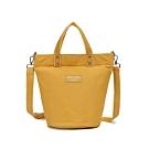 CABACI 清新色系手提斜背二用帆布水桶造型包-黃色