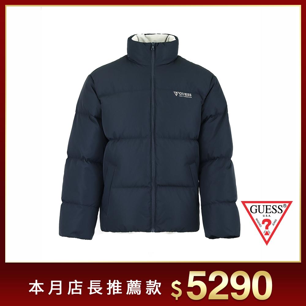 GUESS-男裝-高領刺繡LOGO羽絨外套-藍 原價8290