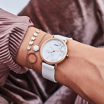 CLUSE La Roche腕錶/ 玫瑰金框/ 天然大理石白底/ 皮革錶帶(CL40110)-33mm