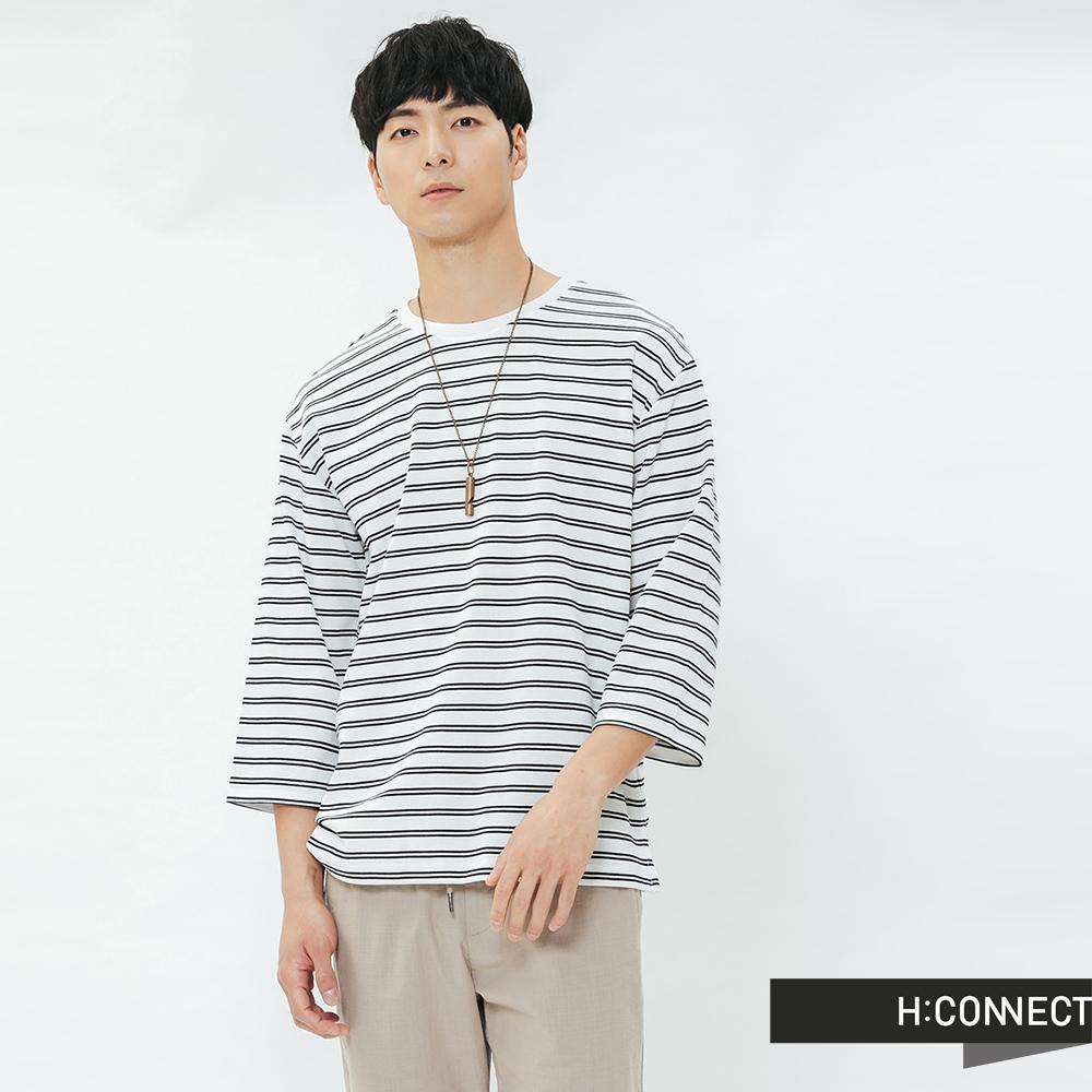H:CONNECT 韓國品牌 男裝-滾邊五分袖條紋T-shirt-白 @ Y!購物