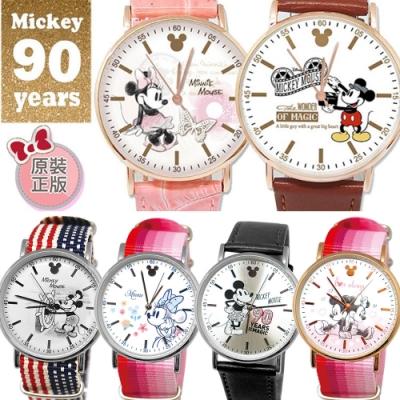 DISNEY迪士尼米奇90週年系列皮帶.織帶手錶6款任選