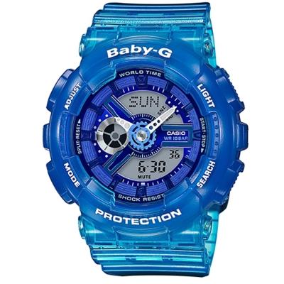 BABY-G果凍色澤混色漸層設計沁夏風格休閒錶( BA-110JM-2A)-藍/43.3mm