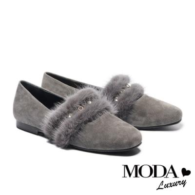 低跟鞋 MODA Luxury 低調奢華貂毛條帶全真皮方頭低跟鞋-灰