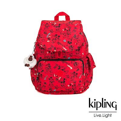 Kipling 米奇系列 經典手繪紅褲米奇圖騰拉鍊掀蓋後背包-D CITY PACK