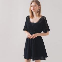 AIR SPACE 民族風V領雪紡洋裝(黑)