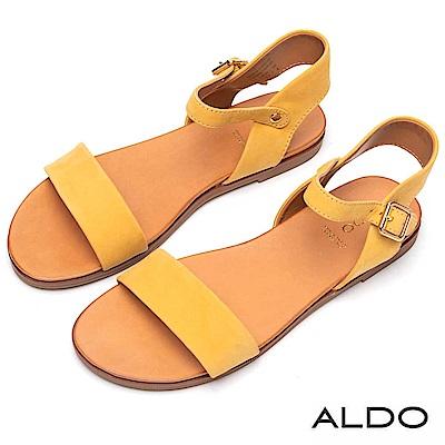 ALDO 原色真皮一字金屬繫踝釦帶涼鞋~溫暖黃色