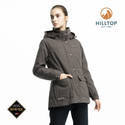 【hilltop山頂鳥】女款GORE-TEX三合一羽絨短大衣F22F01焙咖啡
