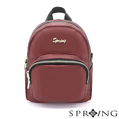 SPRING-微光澤輕量多用迷你後背包-寶石紅