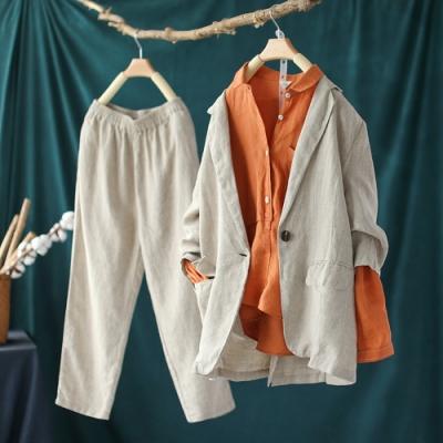 寬鬆亞麻休閒套西裝哈倫褲兩件套-設計所在