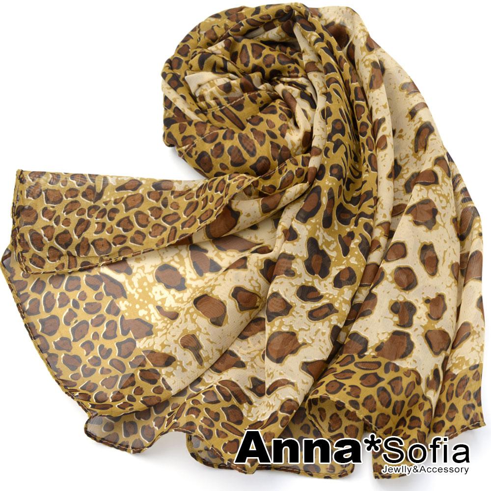 AnnaSofia 框邊豹紋 雪紡圍巾長絲巾(黃咖系) @ Y!購物