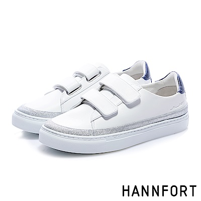 HANNFORT CAMPUS (訂製款)星座電繡徽章厚底休閒鞋-女-白