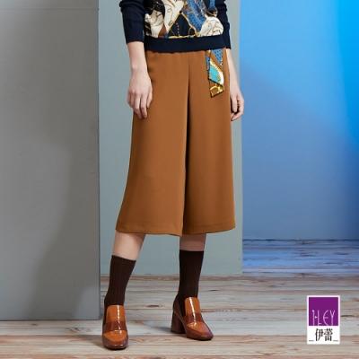ILEY伊蕾 絲巾裝飾八分寬褲(藍/咖)