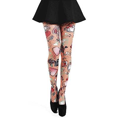 摩達客 英國進口義大利製Pamela Mann 愛心塗鴉圖紋彈性褲襪