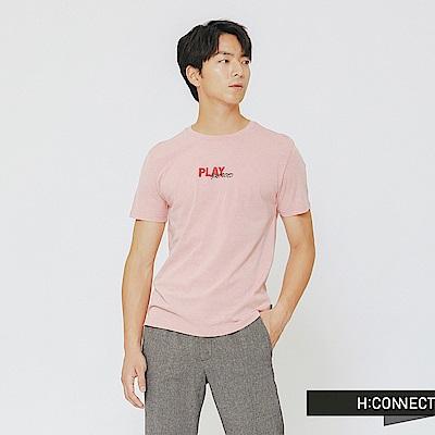H:CONNECT 韓國品牌 男裝-Play配色圓領T-shirt-粉