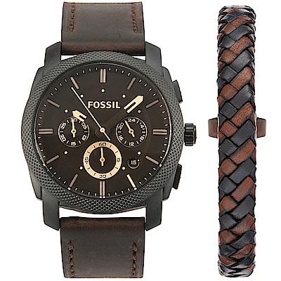 FOSSIL Machine 三眼計時皮革腕錶手環套組-(FS5251SET)-42mm