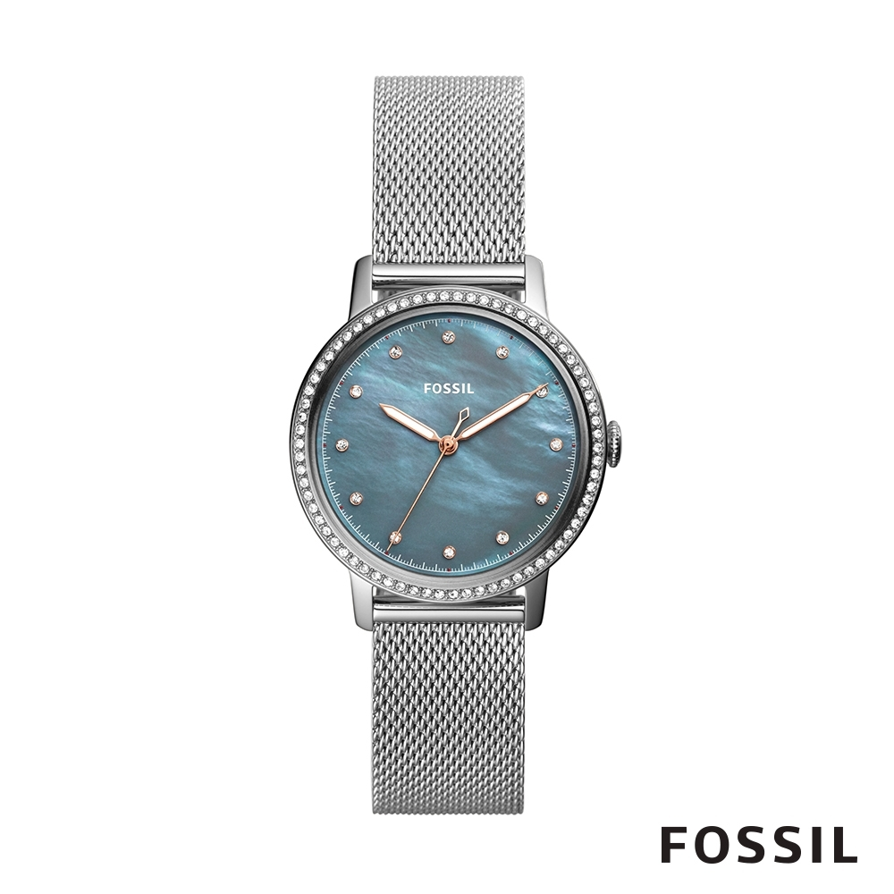 FOSSIL Neely 珍珠母貝炫彩錶面不鏽鋼女錶 34mm ES4313