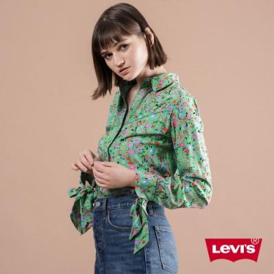 Levis 女款 長袖襯衫 復古扶桑花紋 扣壓式珍珠釦 蝴蝶結袖口