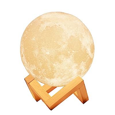 (送木質支架) 3D打印觸控月球夜燈8CM