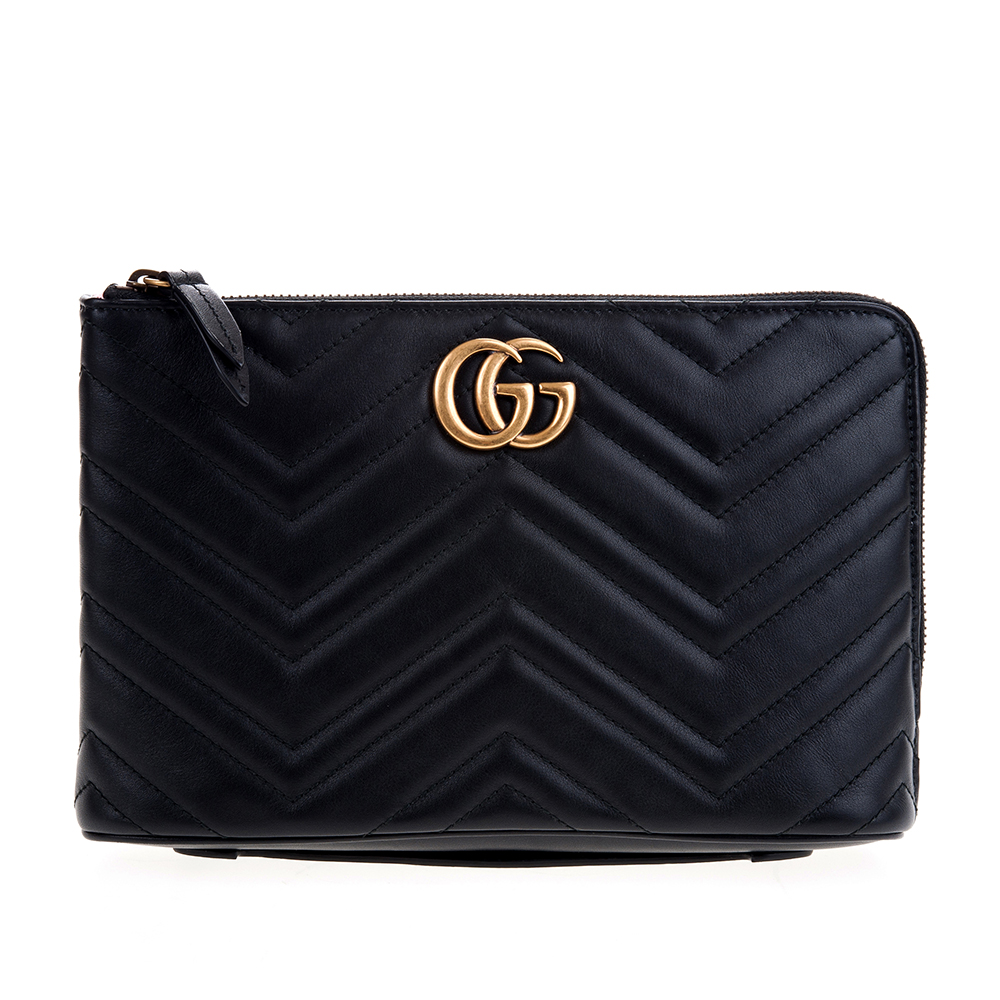 GUCCI GG Marmont系列仿舊金色雙G金屬山形紋牛皮拉鍊手拿包 (黑色)