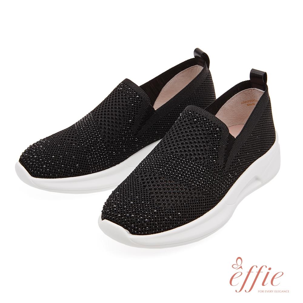 effie 輕快律動-珍珠鑽飾直套氣墊休閒鞋(網獨款)-黑