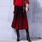 【麥雪爾】絨面立體漸層細百褶傘長裙-紅