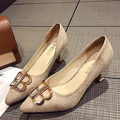 KEITH-WILL時尚鞋館 女人最大復古風情細跟鞋-米色