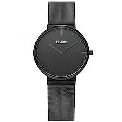 TAYROC 英式簡約時尚米蘭帶手錶-黑/40mm