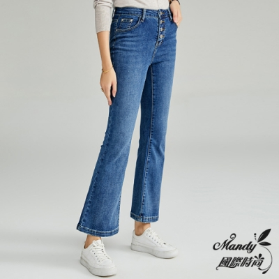 Mandy國際時尚 褲子 冬 氣質高腰修身顯瘦單排扣牛仔褲  【法式服飾】