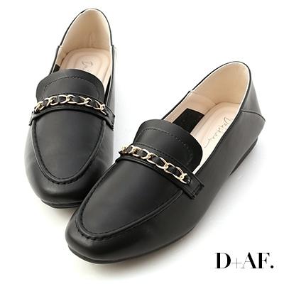 D+AF 舒適印象.金屬鍊條可後踩樂福鞋*黑