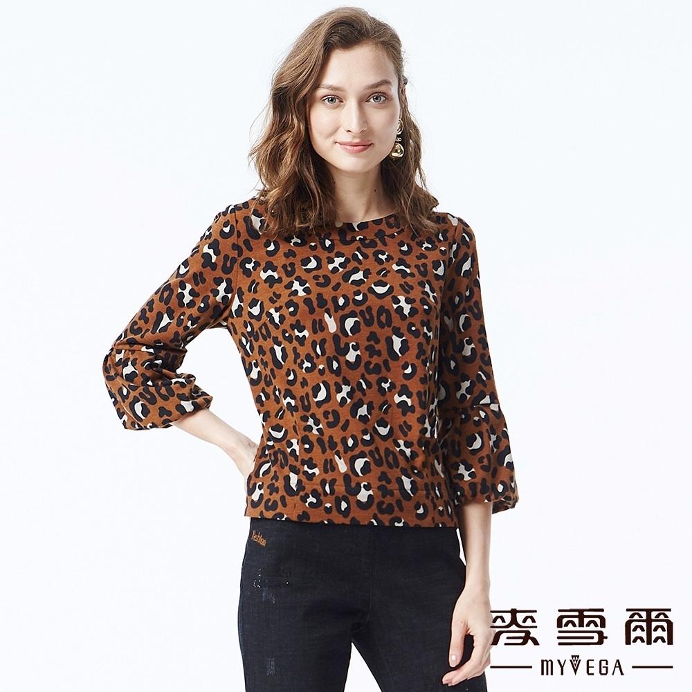 麥雪爾 豹紋七分泡泡袖造型上衣-咖啡