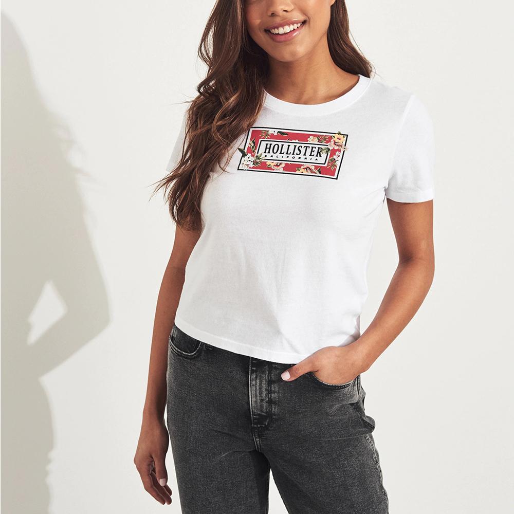 海鷗 Hollister HCO 經典貼字夏日風情短版短袖T恤(女)-白色