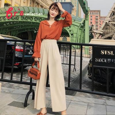 【brs】  睡衣領度假風喇叭袖襯衫-2色