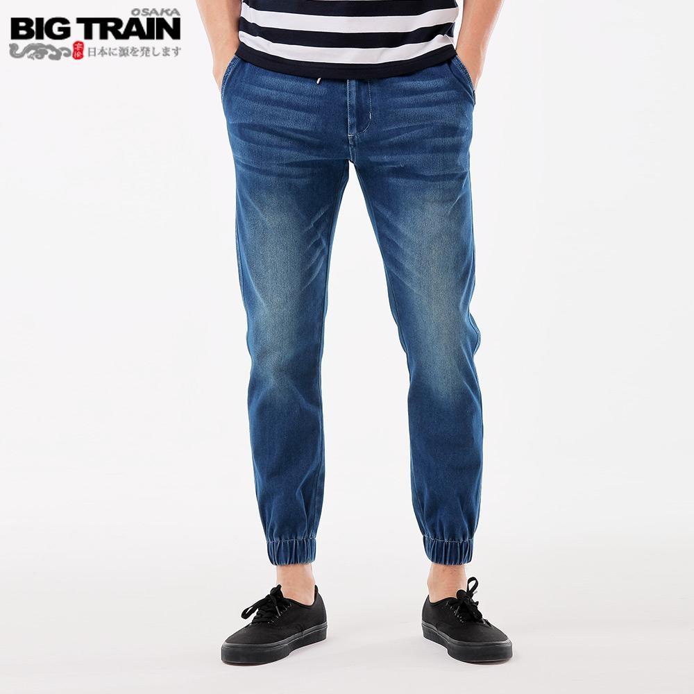 BigTrain 吸排鬆緊腰針織丹寧縮口褲-男-藍色