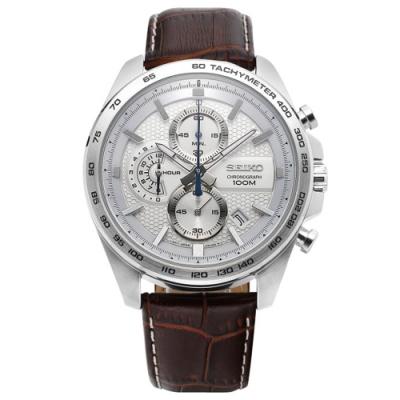 SEIKO精工   文華尚品三眼計時視距儀石英腕錶(SSB263P1)-白x44mm