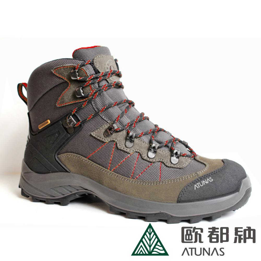 【ATUNAS 歐都納】男款防水透氣中筒登山健行鞋A1GCBB11M咖啡/寬楦/耐磨/制震