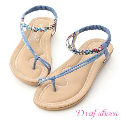 D AF 花漾魅力.麻辮花布斜帶平底涼鞋*藍