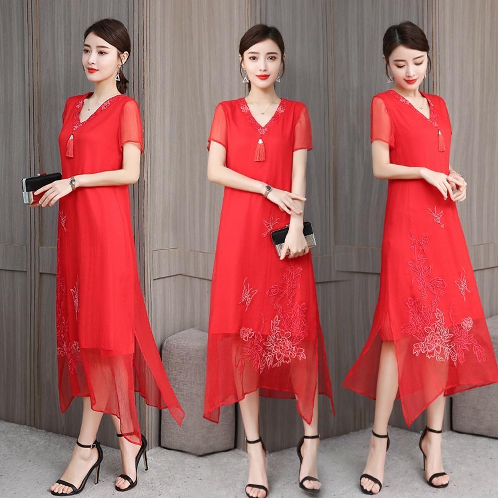 經典復古中國風閑適雅致繡花洋裝M-3XL(共二色)REKO