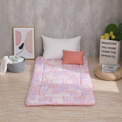 LAMINA 方格漩渦100%純棉日式床墊5cm-粉(單人)