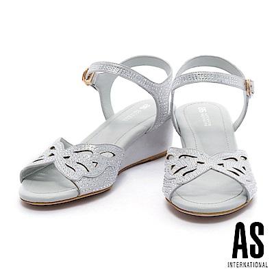 涼鞋 AS 奢華浪漫晶鑽鏤空蝴蝶結繫帶楔型低跟涼鞋-銀