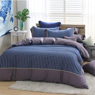 LASOL睡眠屋-300織設計款精梳棉 特大兩用被床包四件組 英倫印記