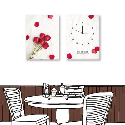24mama掛畫 二聯式 紅色花卉 玫瑰 時鐘掛畫 無框畫 30X40cm-喜歡