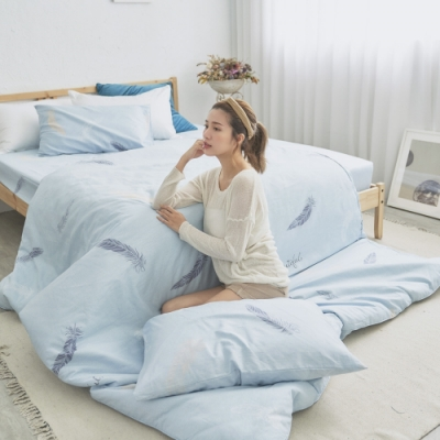 BUHO 天然嚴選純棉雙人三件式床包組(風漉化生)