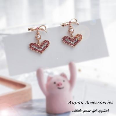 【ANPAN愛扮】韓東大門個性氣質蝴蝶結垂墜愛心925銀針耳釘式耳環