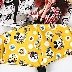 迪士尼 Disney 抗UV 黑膠晴雨三折傘_狂歡派對(黃)